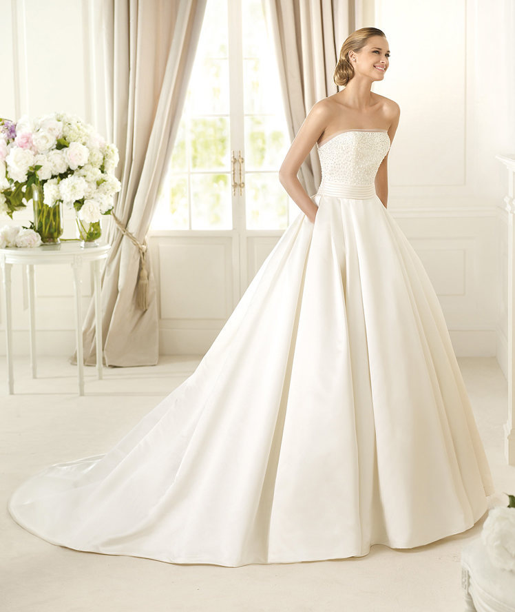 pockets sweep brush train satin wedding dresses wedding dresses