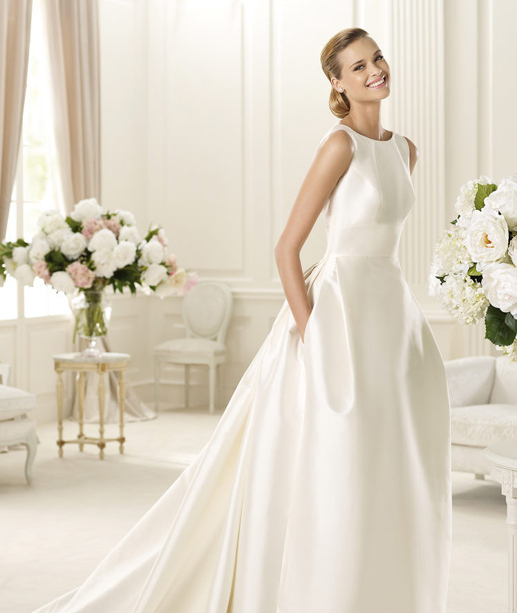 gown straps pockets sweep brush train satin wedding dresses wedding