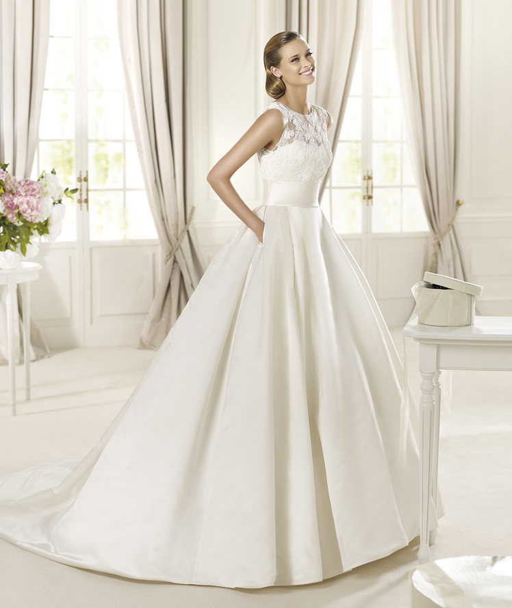 lace pockets sweep brush train satin wedding dresses wedding dresses