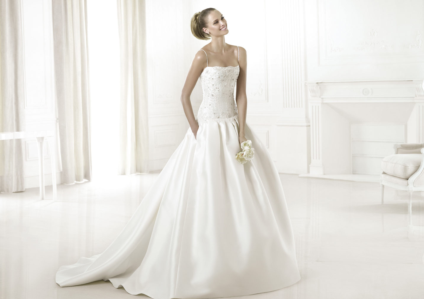 Wedding Dress With Pockets And Spaghetti Straps : Ball gown spaghetti straps beading crystal detailing lace pockets