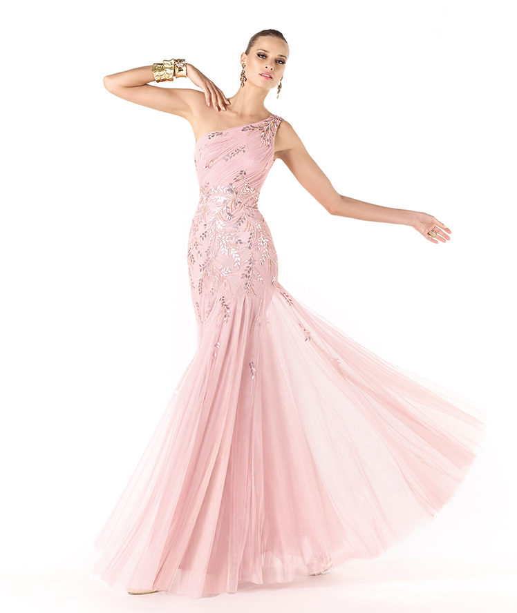 Sexy Trumpet/Mermaid One Shoulder Sequins Floor-length Tulle Cocktail Dresses