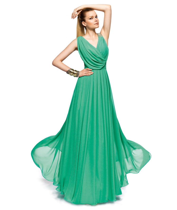 Charming A-line Straps V-neck Beading Ruching Floor-length Chiffon Cocktail Dresses