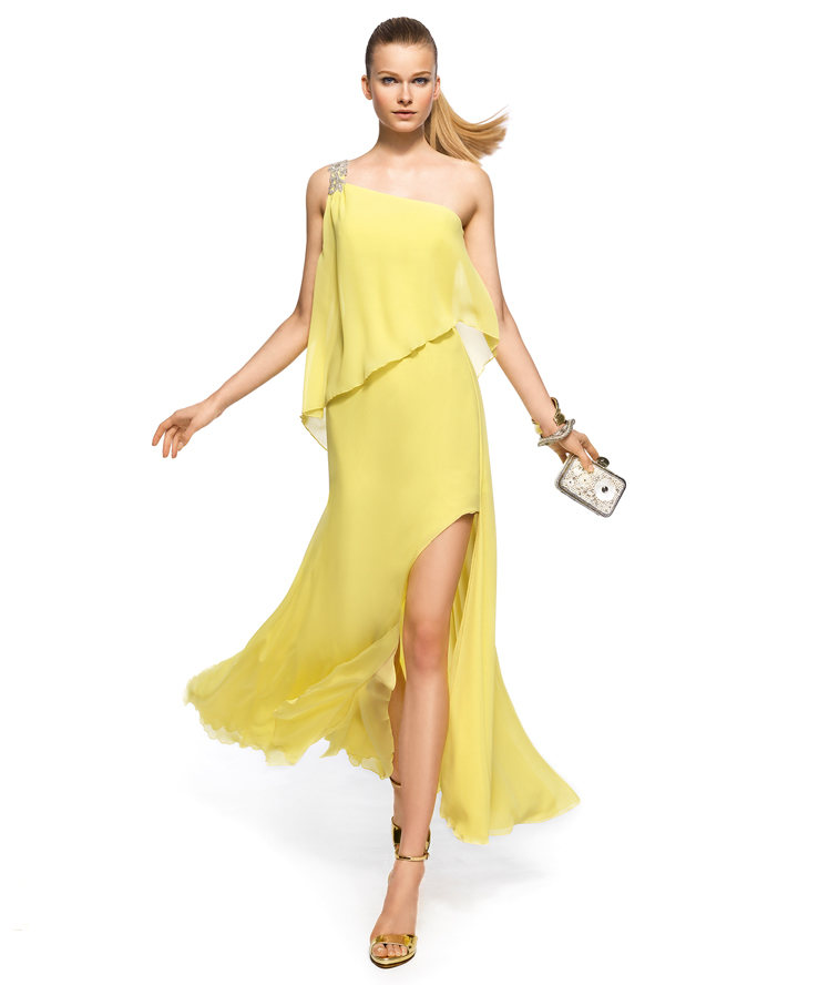 Charming A-line One Shoulder Beading Side Silt Floor-length Chiffon Cocktail Dresses_1