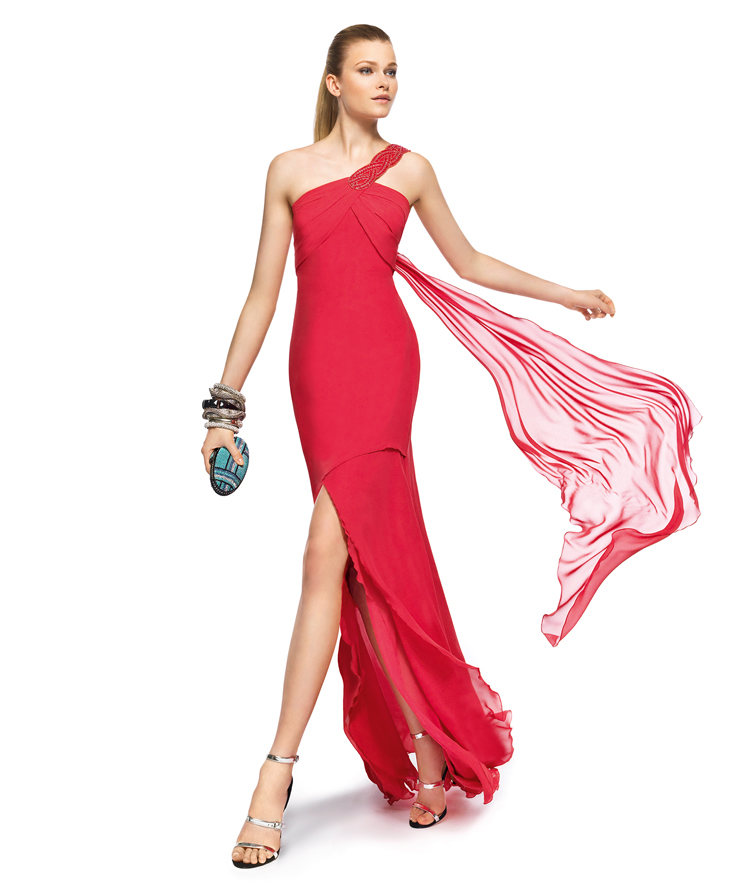 Charming A-line One Shoulder Beading Side Slit Floor-length Chiffon Cocktail Dresses