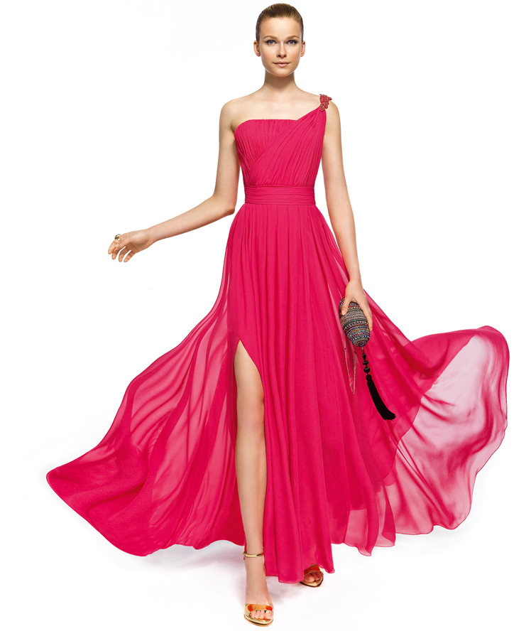 Charming A-line One Shoulder Beading Side Slit Floor-length Chiffon Cocktail Dresses _1