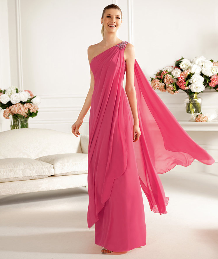 Charming A-line One Shoulder Beading Ruching Floor-length Chiffon Cocktail Dresses_1