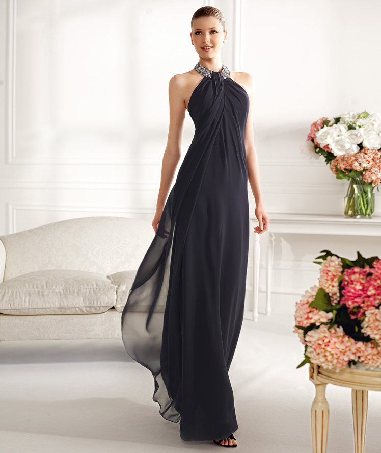 Charming A-line Halter Beading Floor-length Chiffon Cocktail Dresses_1