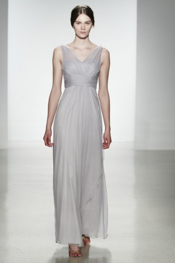 Charming A-line Straps V-neck Ruching Floor-length Chiffon Bridesmaid Dress