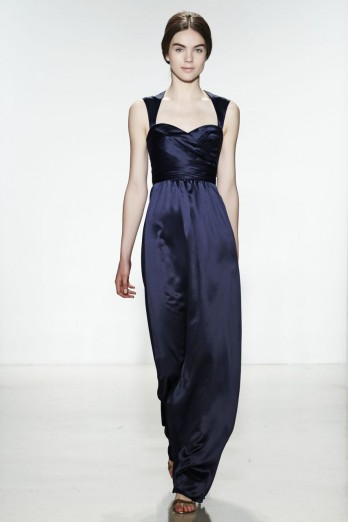 Simple A-line Straps Ruching Floor-length Stretch Satin Bridesmaid Dress