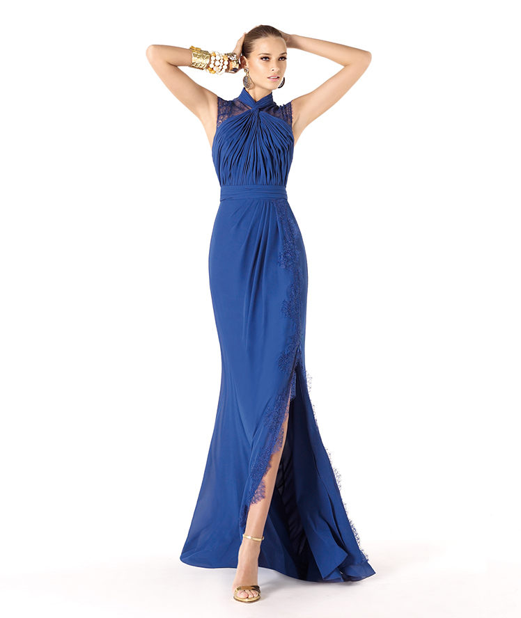 Charming A-line High Neck Lace Side Slit Floor-length Chiffon Cocktail Dresses