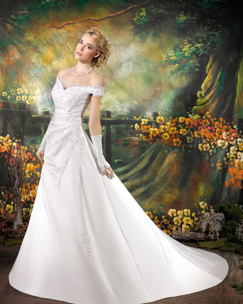 Simple A-line Off-the-shoulder Beading Lace Sweep/Brush Train Satin Wedding Dresses