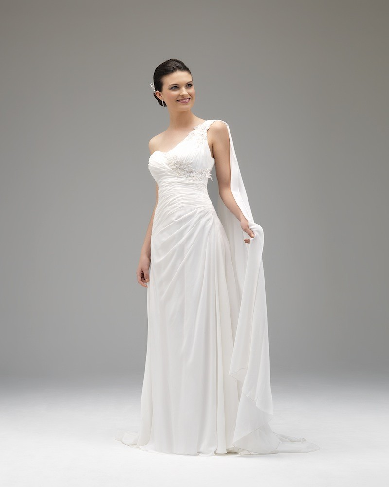 Simple A-line One Shoulder Lace Floor-length Chiffon Wedding Dresses