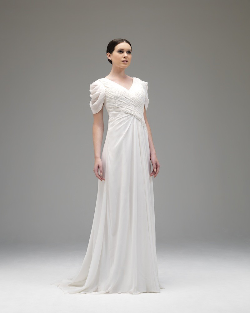 Simple A-line V-neck Short Sleeve Beading Ruching Floor-length Chiffon Wedding Dresses
