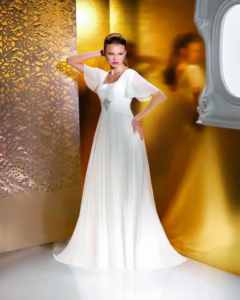 Simple A-line Beading Ruching Sweep/Brush Train Chiffon Wedding Dresses