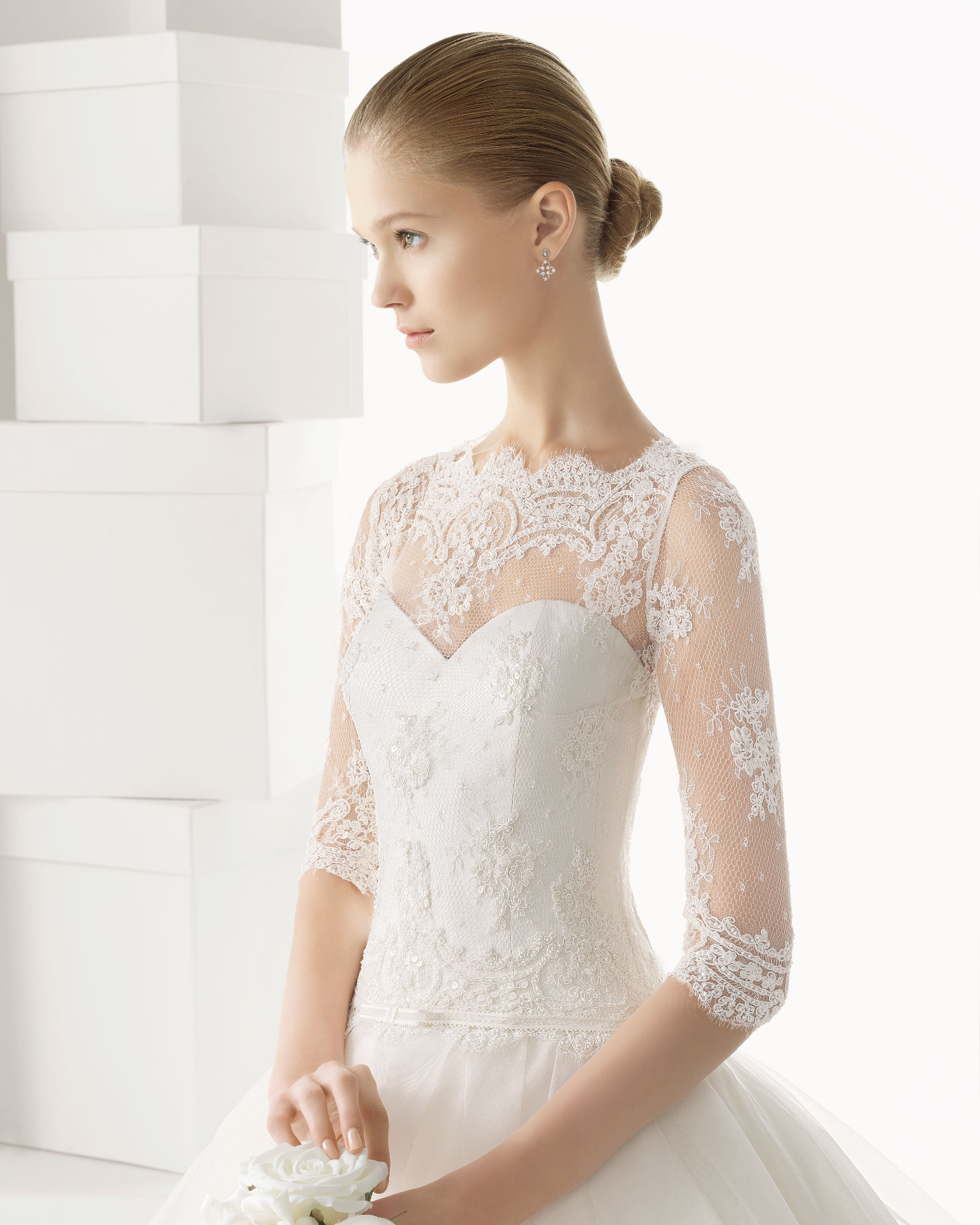 Elegant A line Half Sleeve Cascading Ruffles Lace Sweep