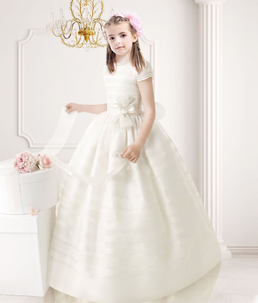 Nectarean Ball Gown Short Sleeve Bow(s) Floor-length Communion Dresses