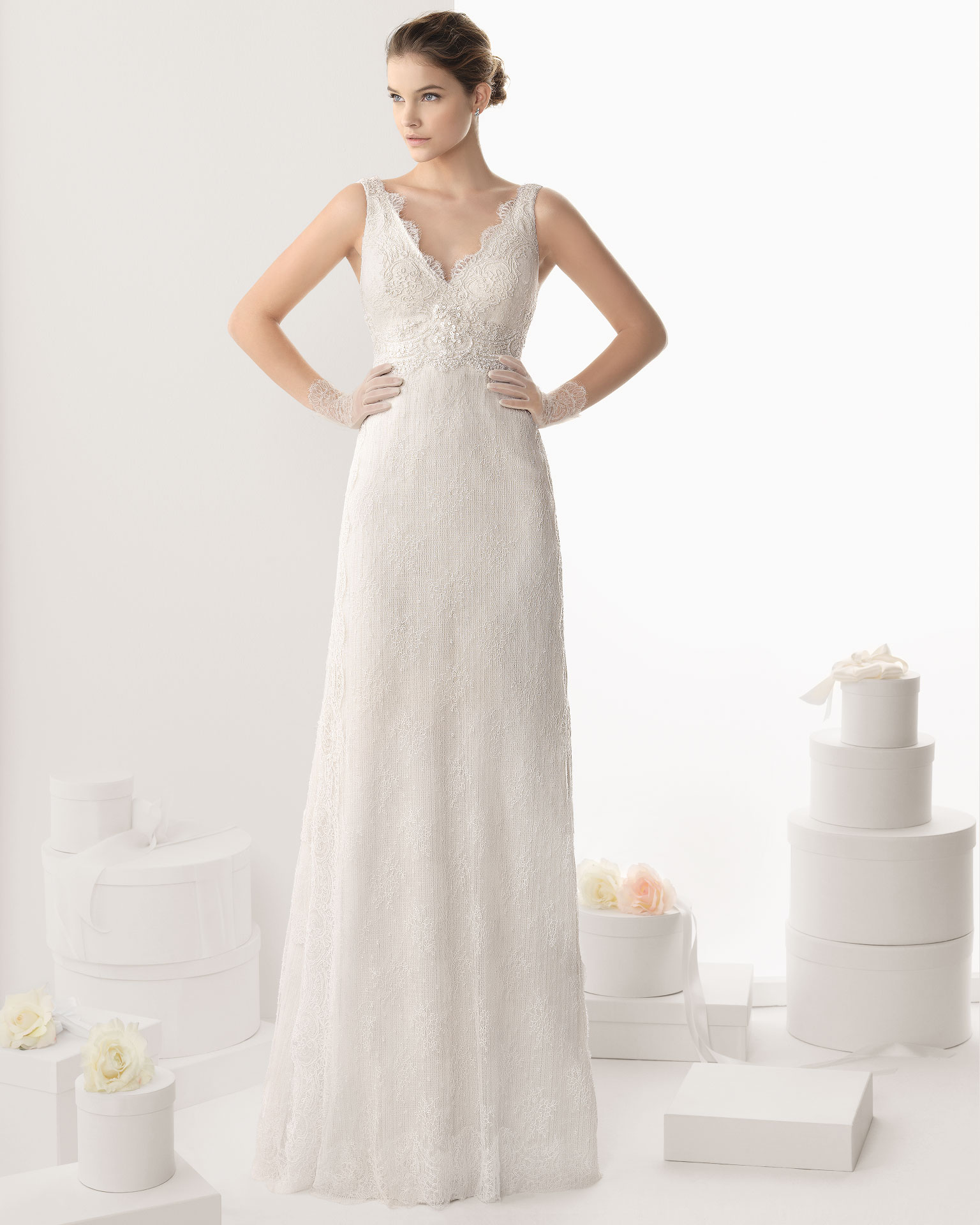 Nectarean A-line Strapless Lace Sequins Floor-length Tulle wedding dress