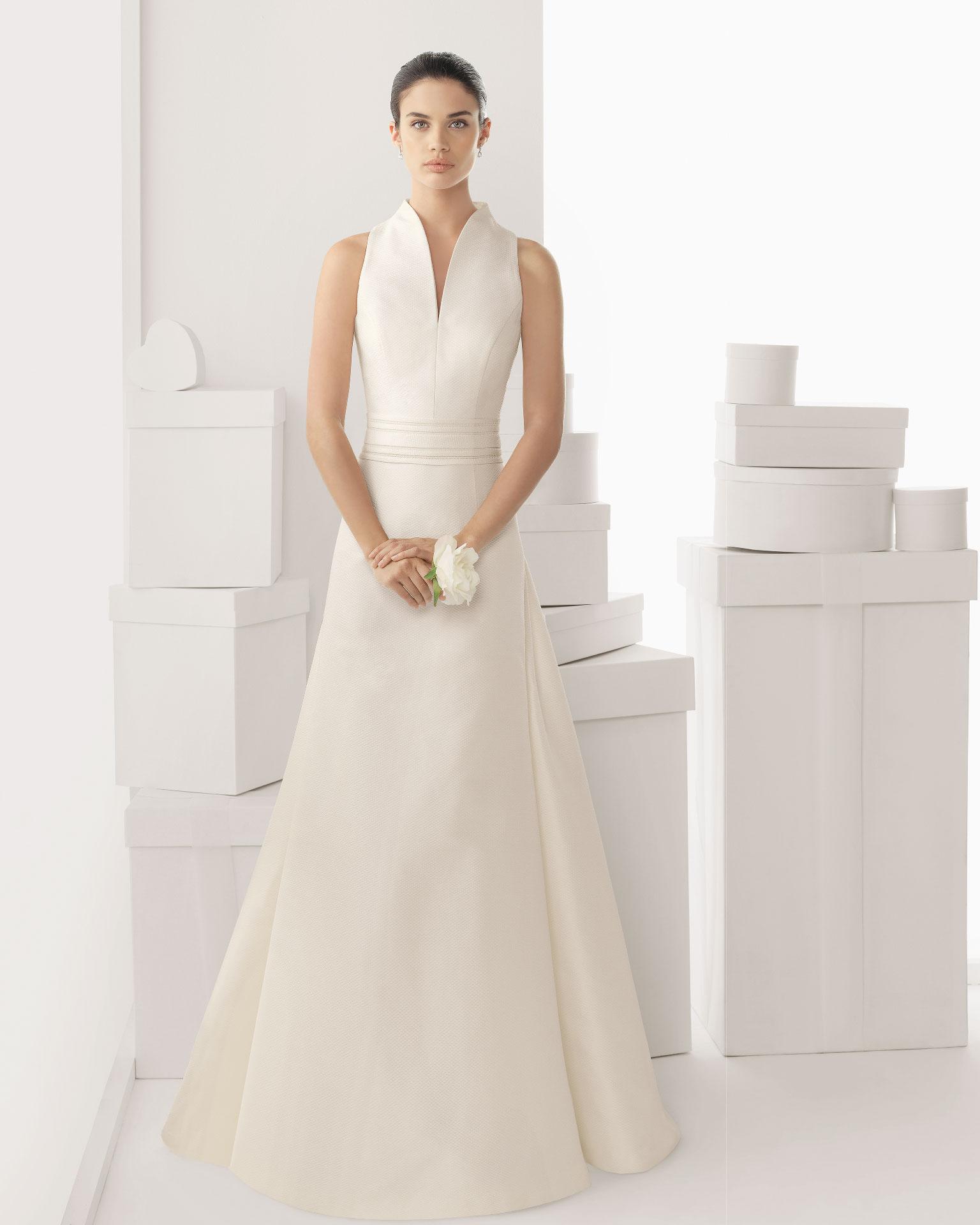 Simple Wedding Dress High Neck : Simple a line high neck sweep brush train satin wedding dress