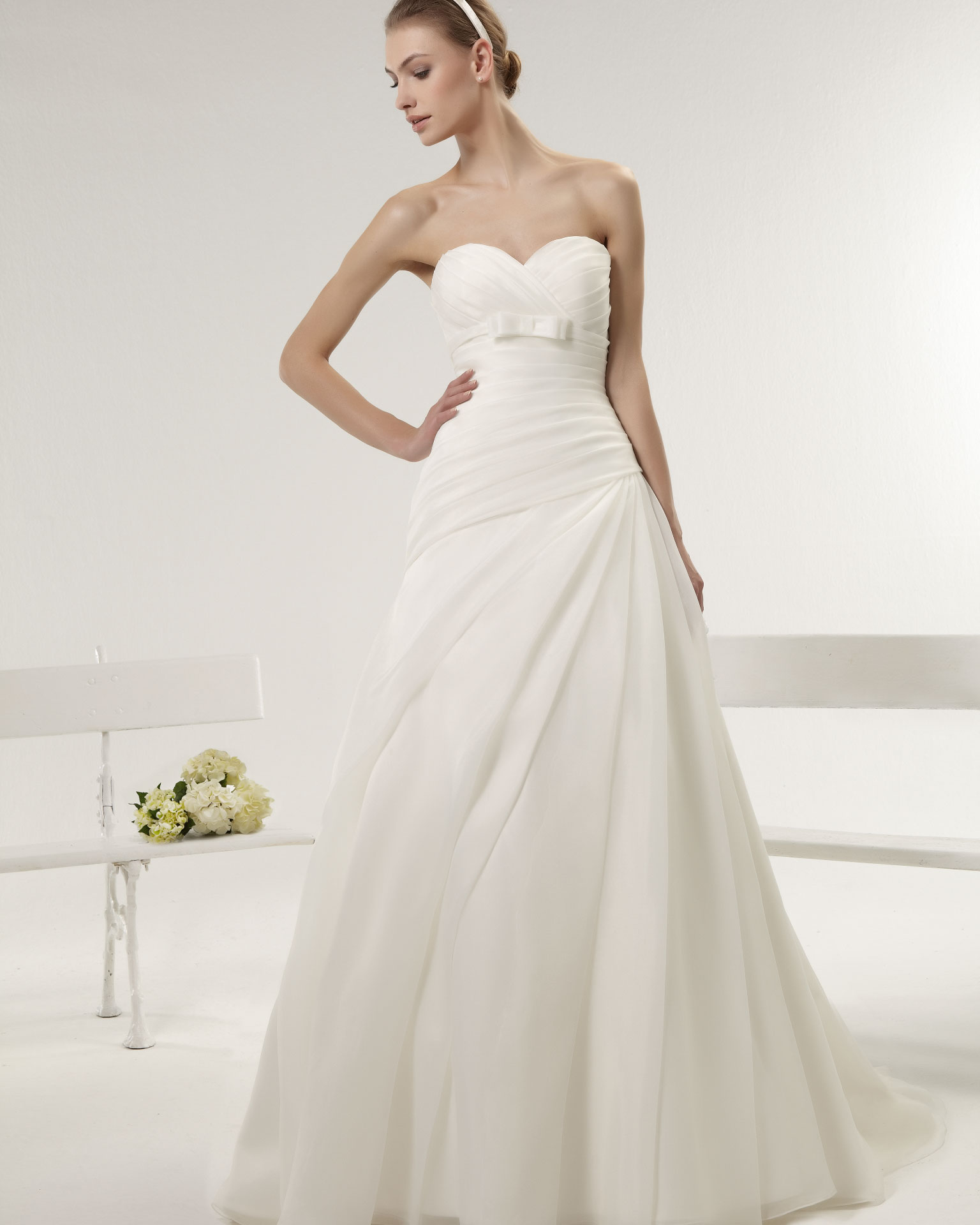 Simple A-line Sweetheart Ruching Sweep/Brush Train Organza Wedding Dresses