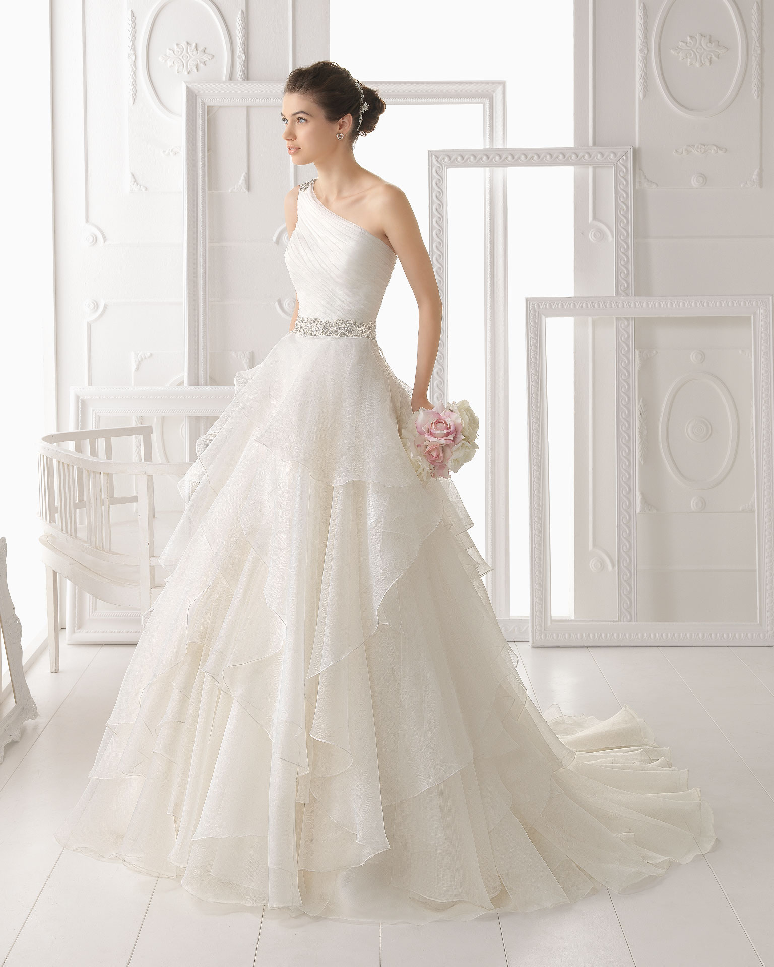 Simple A-line One Shoulder Beading&Crystal Cascading Ruffles Sweep/Brush Train Organza Wedding Dresses