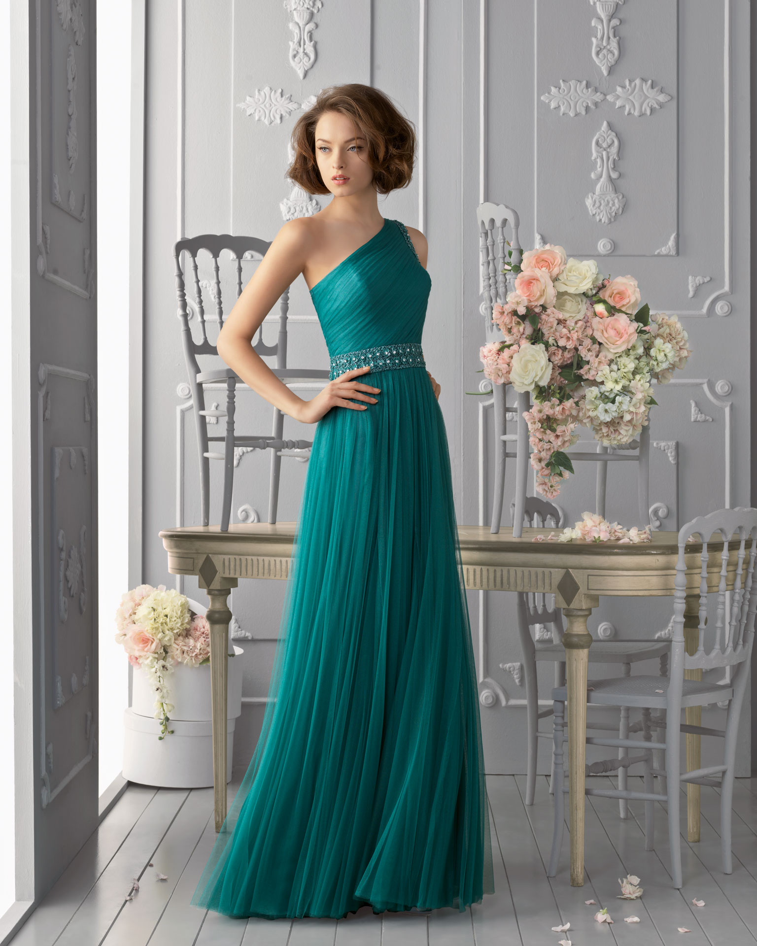 Charming Sheath/Column One Shoulder Beading Floor-length Tulle Prom Dresses