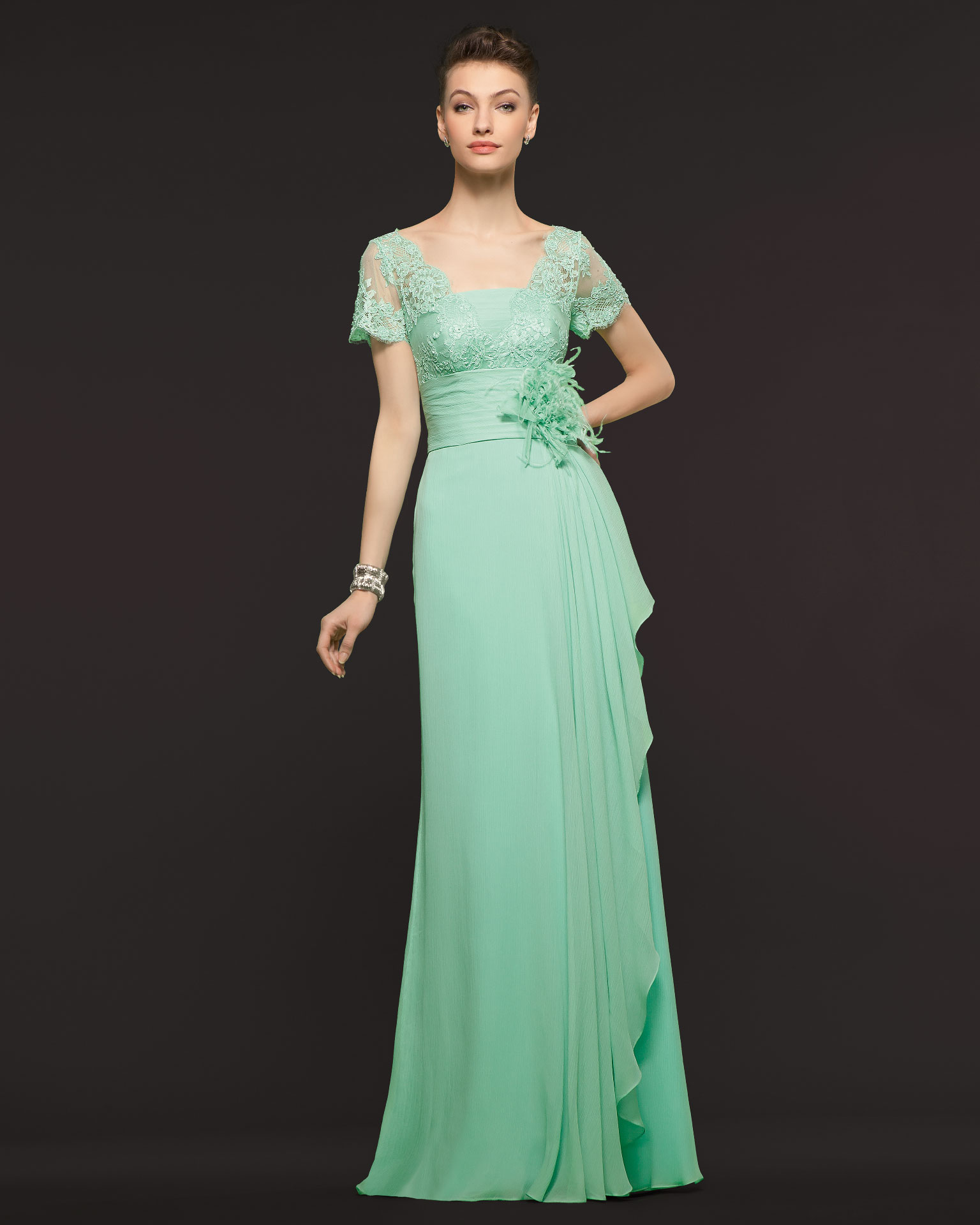 Charming Sheath/Column Short Sleeved Lace Ruching Floor-length Chiffon Prom Dresses