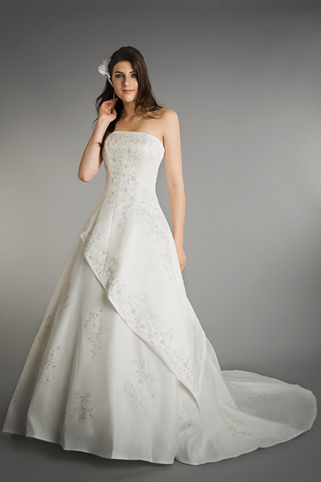 Simple A-line Strapless Embroidery Sweep/Brush Train Satin Wedding Dresses