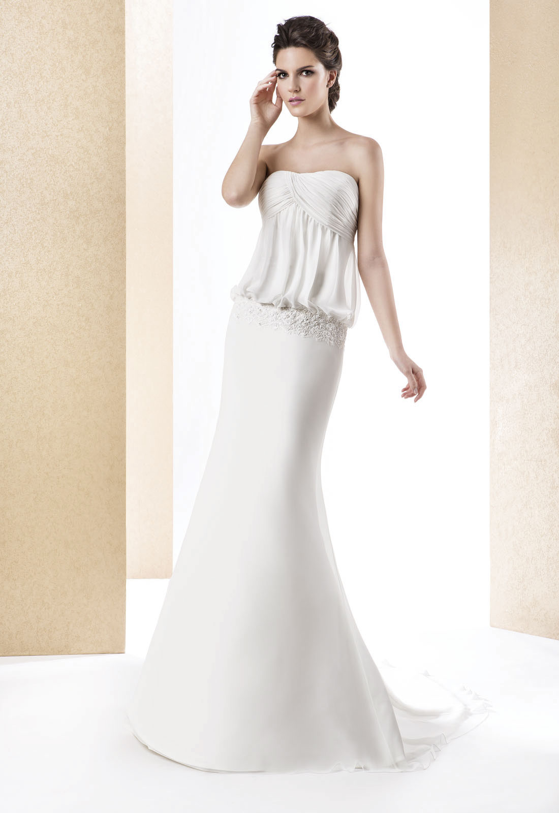 Simple Sheath/Column Strapless Beading Lace Sweep/Brush Train Chiffon Wedding Dresses