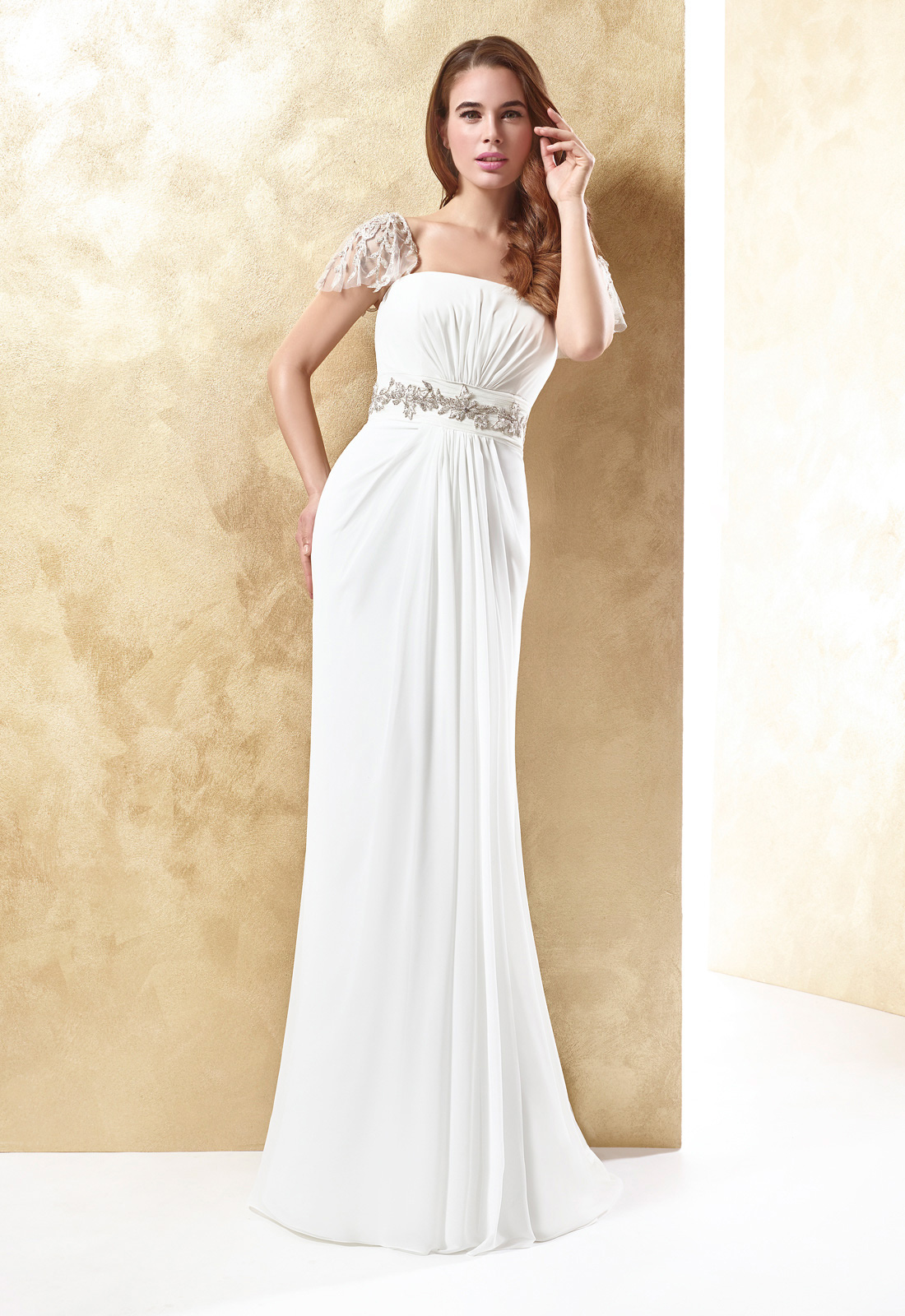 Simple Sheath/Column Straps Beading Ruching Sweep/Brush Train Chiffon Wedding Dresses