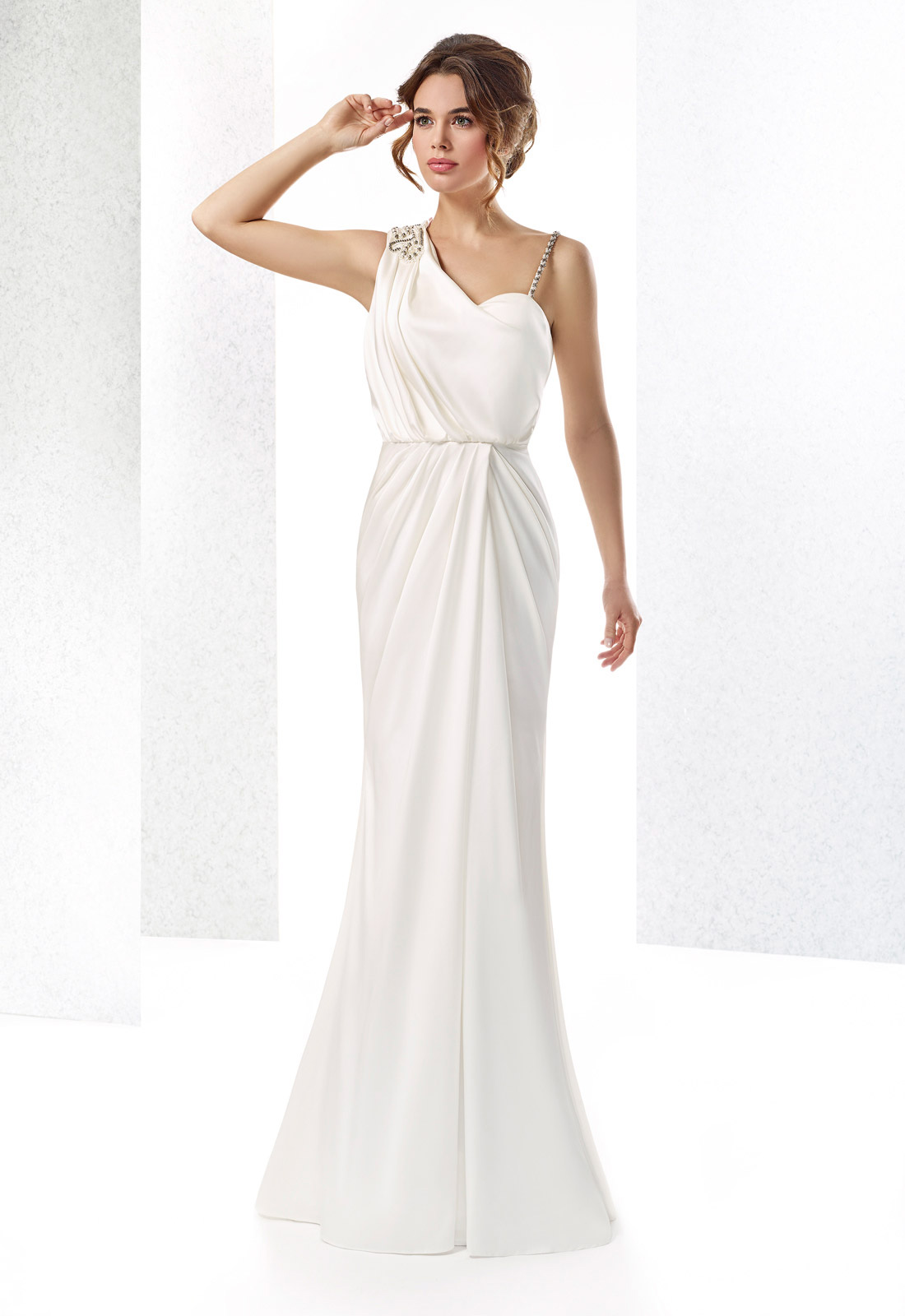 Sexy Sheath One Shoulder Beading&Pearl Sweep/Brush Train Satin Wedding Dresses