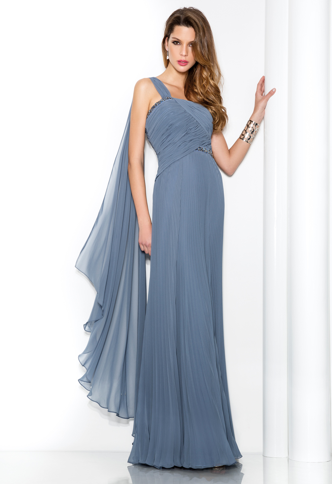 Simple Sheath/Column One Shoulder Beading Ruching Sashes/Ribbons Floor-length Chiffon Cocktail Dresses
