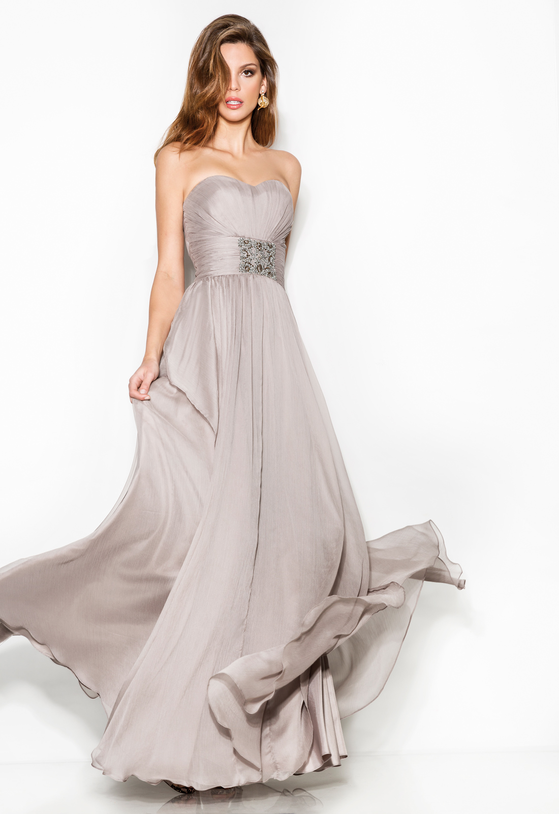 Simple Sheath/Column Sweetheart Beading Ruching Floor-length Chiffon Cocktail Dresses