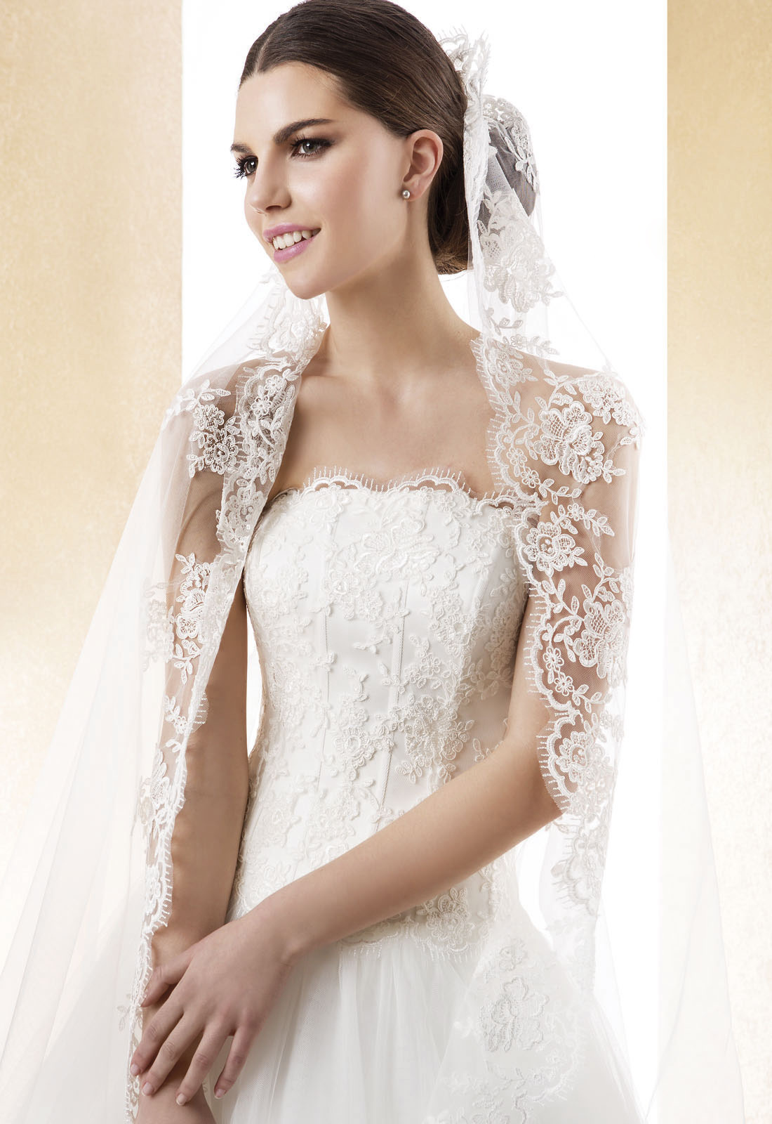 Charming One Tier Lace Tulle Long Wedding Veils