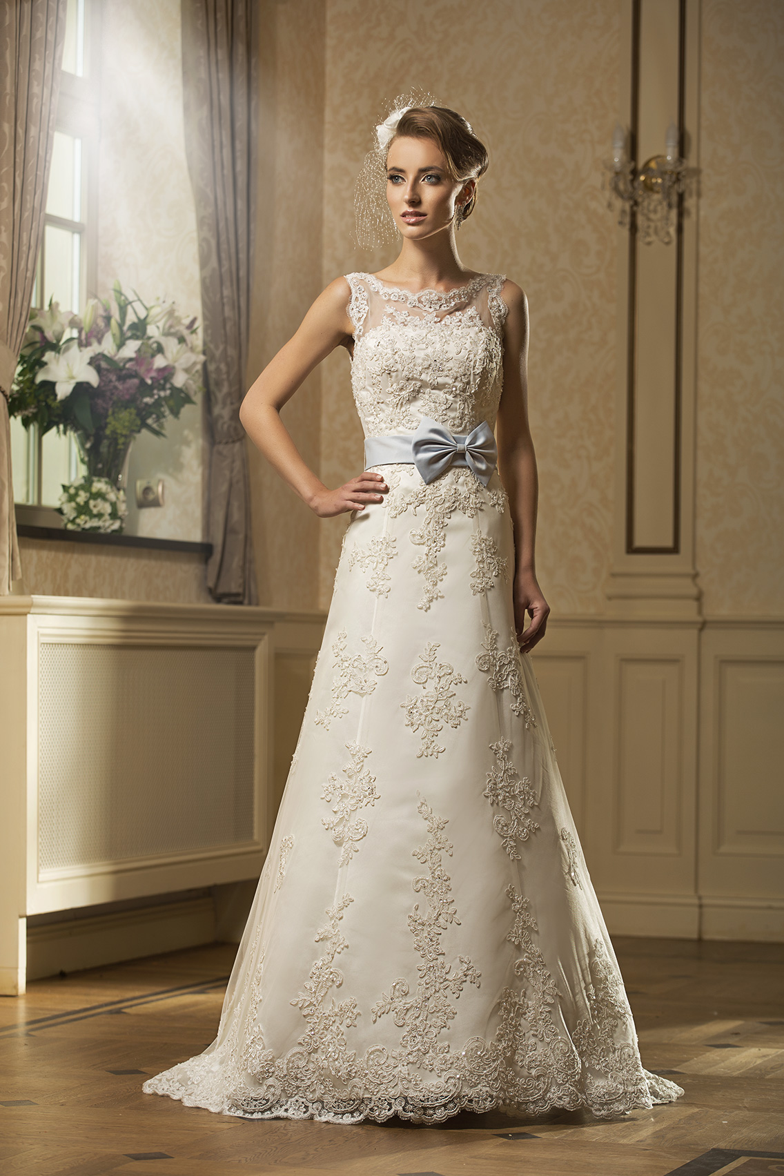 Charming A-line Beading&Sequins Lace Embroidered Bodice Sweep/Brush Train Wedding Dresses