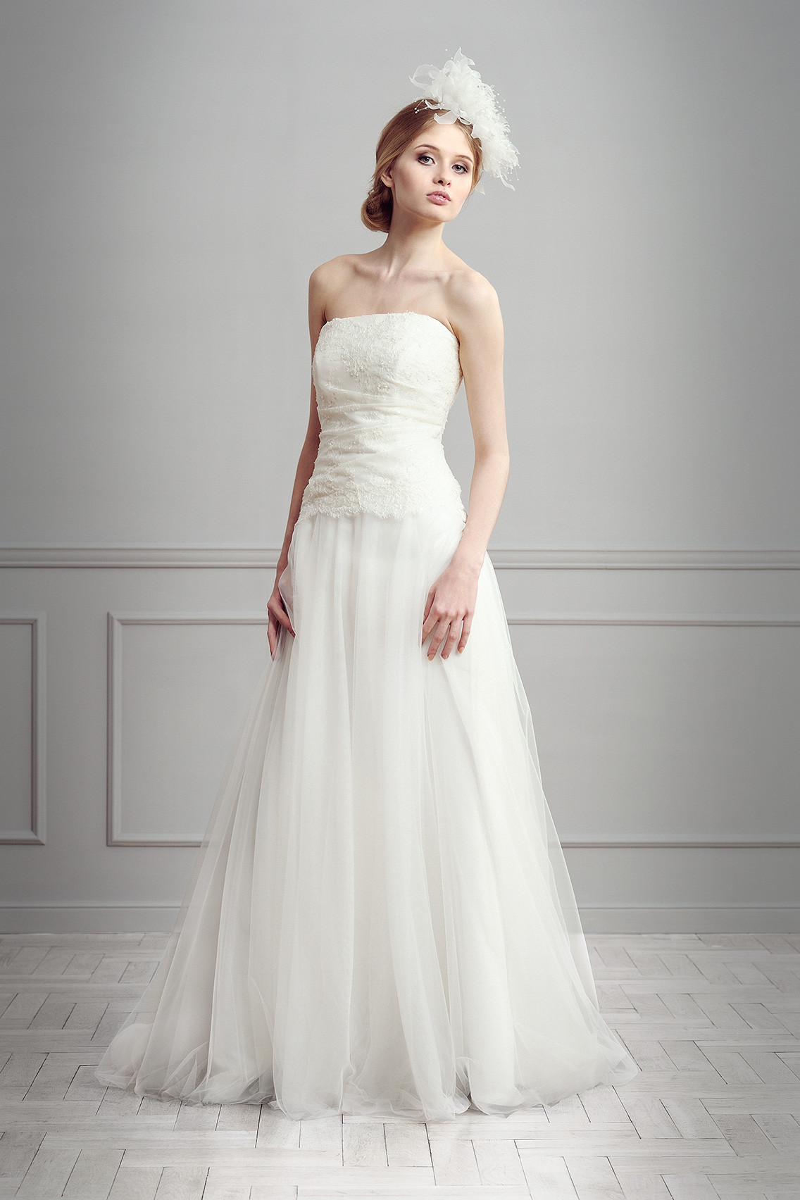 Simple A line Strapless Lace Sweep Brush Train Tulle