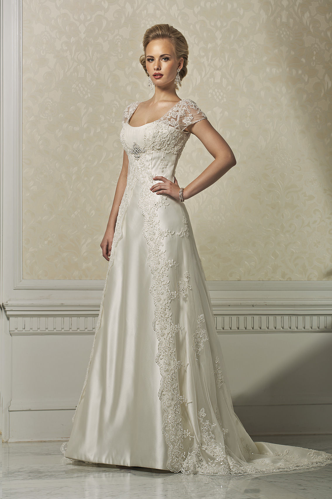 Elegant A line Straps Beading&Sequins Buttons Lace Sweep