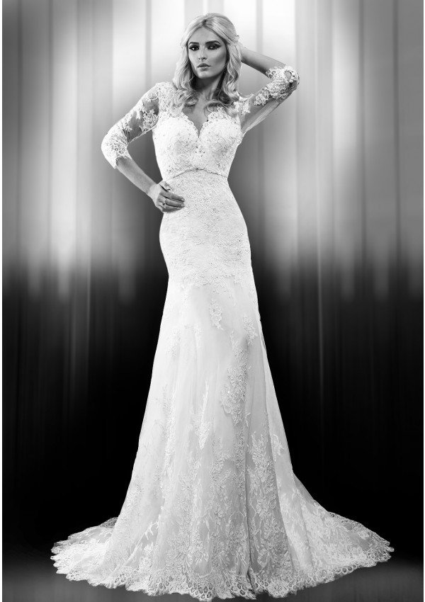 Elegant Sheath/Column 3/4 Length Sleeve Beading&Sequins Lace Sweep/Brush Train Wedding Dresses
