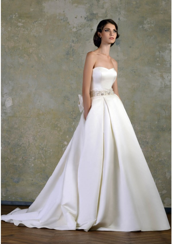 Simple A-line Strapless Beading Bow(s) Sashes/Ribbons Sweep/Brush Train Satin Wedding Dresses