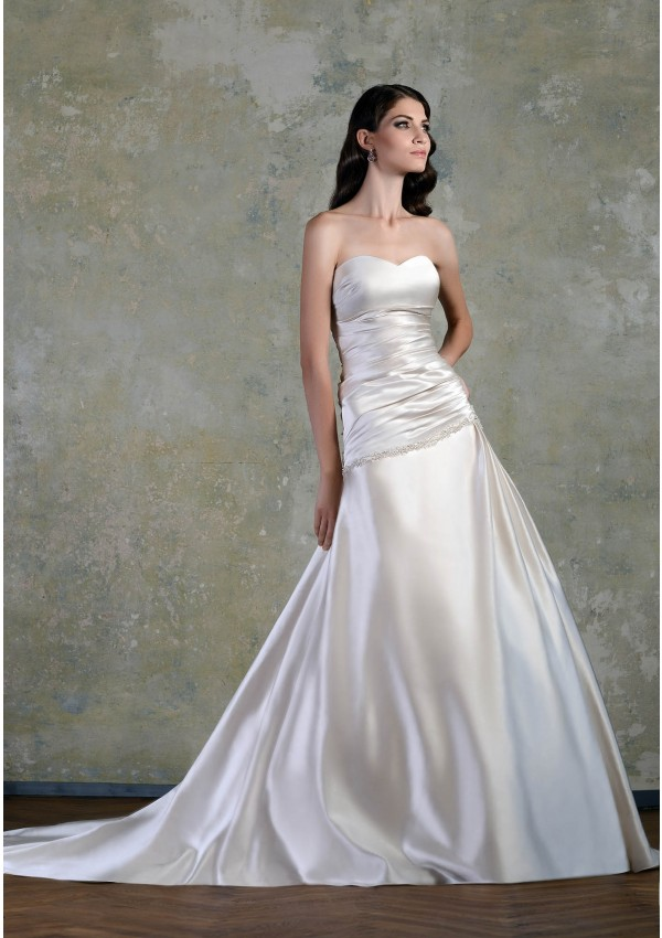 Simple A-line Strapless Beading Chapel Train Satin Wedding Dresses