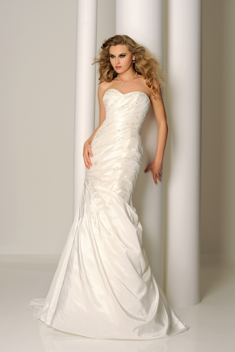 Simple Trumpet/Mermaid Sweetheart Beading Ruching Sweep/Brush Train Taffeta Wedding Dresses