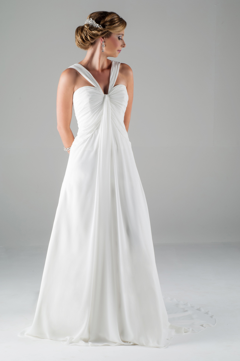 Simple A-line Straps Ruching Sweep/Brush Train Chiffon Wedding Dresses