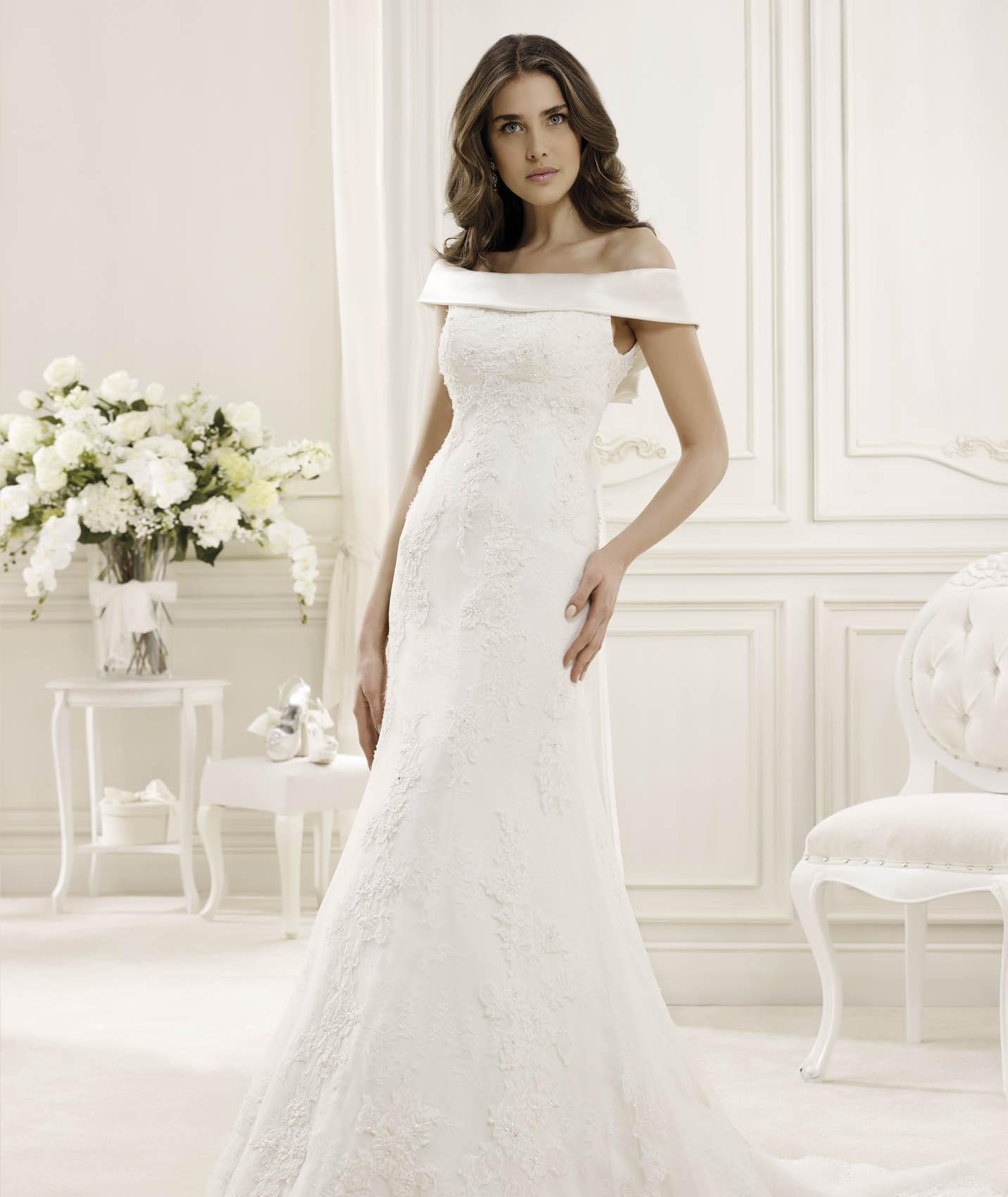 Exquisite A-line Off-the-shoulder Beading&Sequins Lace Sweep/Brush Train Wedding Dresses