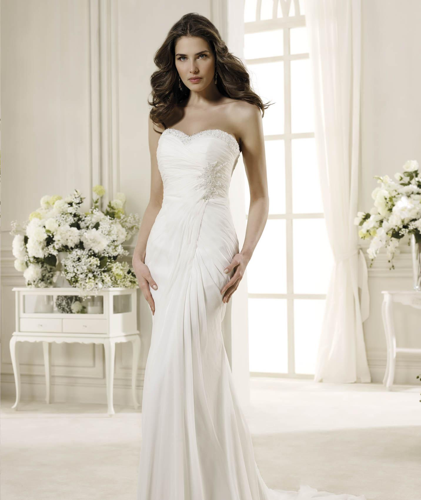 Simple Sheath/Column Sweetheart Beading Ruching Sweep/Brush Train Chiffon Wedding Dresses