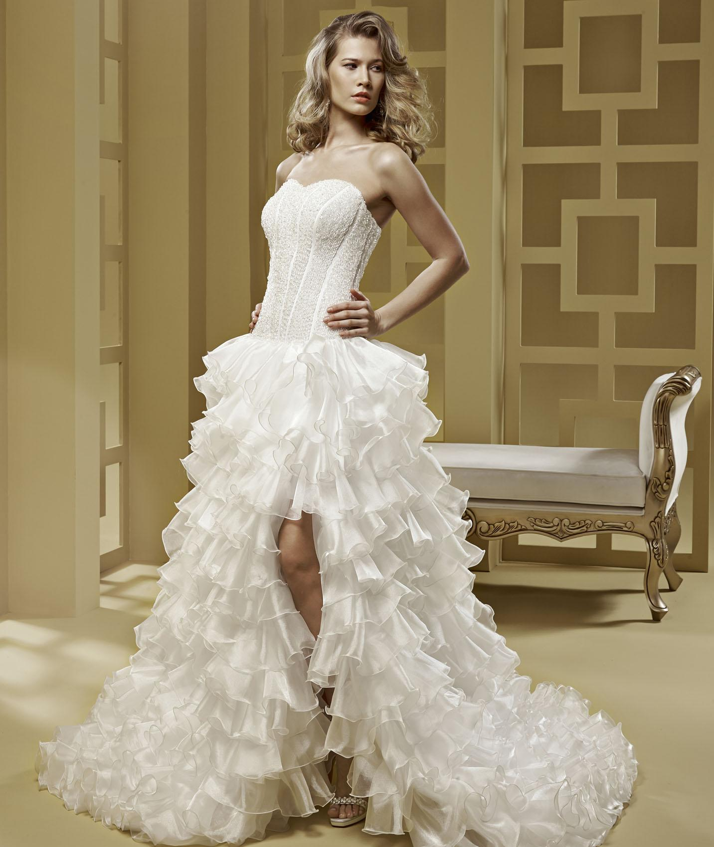 Charming Ball Gown Strapless Beading Cascading Ruffles Sweep/Brush Train Organza Wedding Dresses