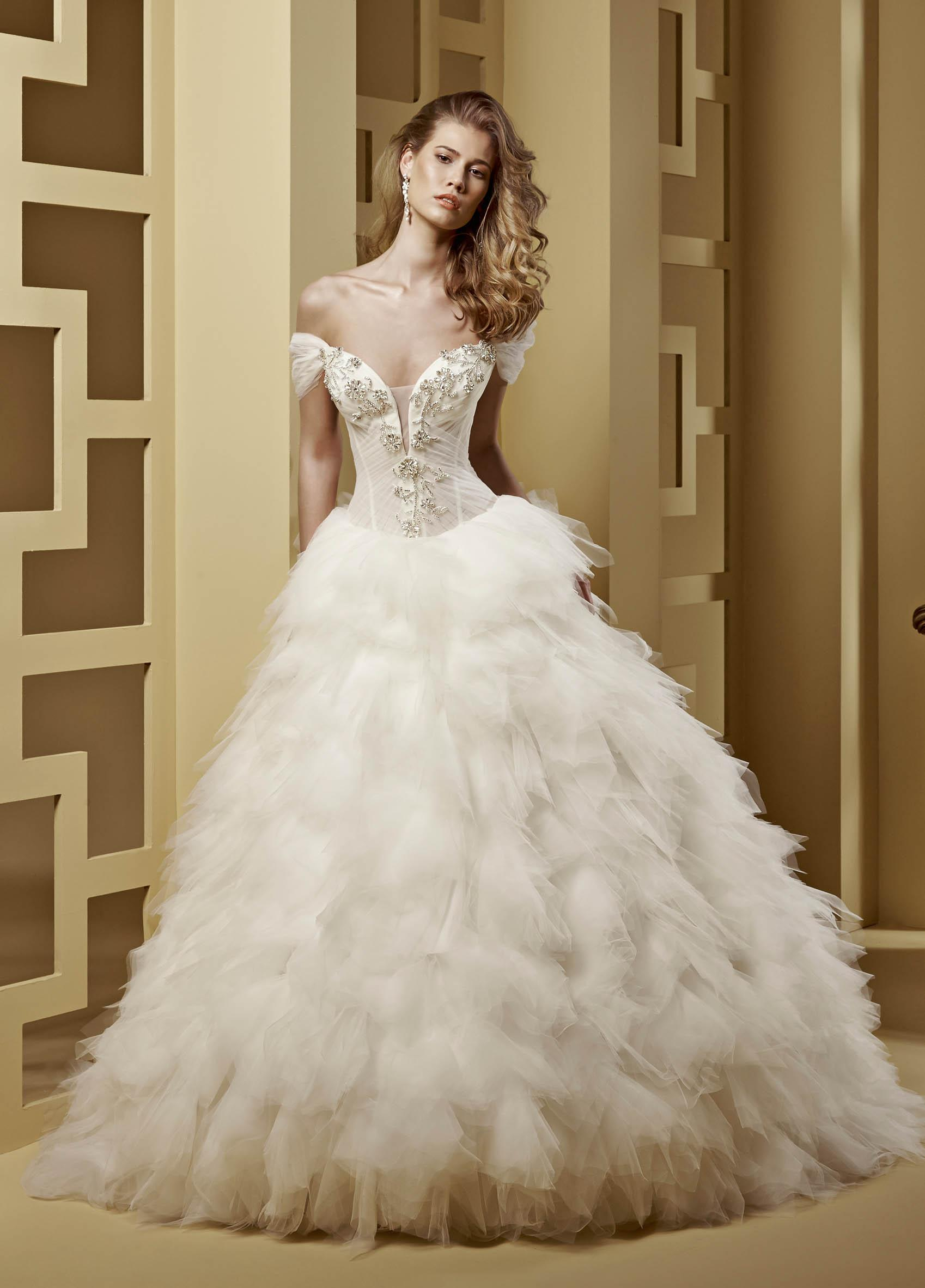 Exquisite A-line Off-the-shoulder Beading&Crystal Cascading Ruffles Floor-length Tulle Wedding Dresses