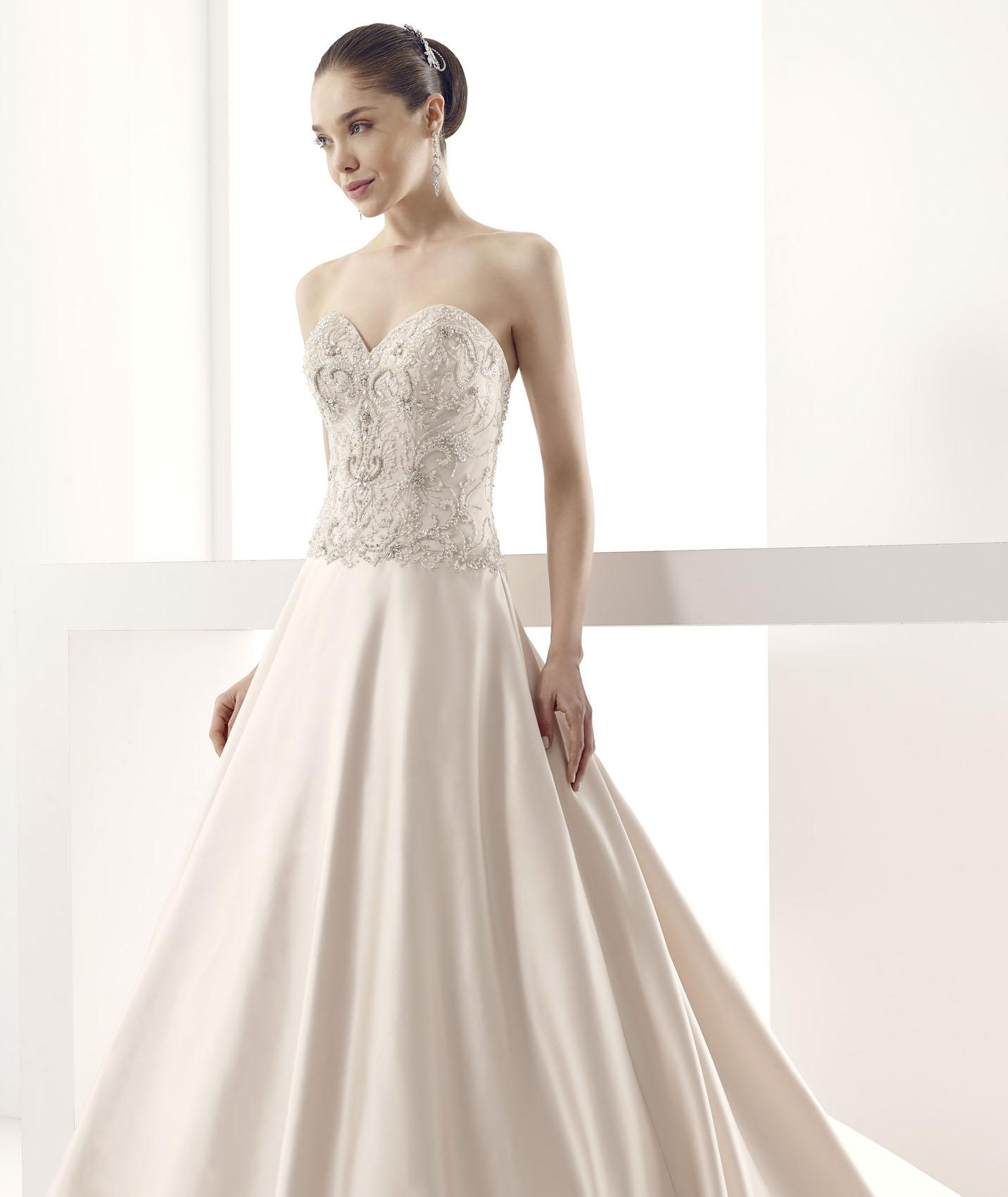 Exquisite A-line Sweetheart Beading&Crystal Sweep/Brush Train Satin Wedding Dresses
