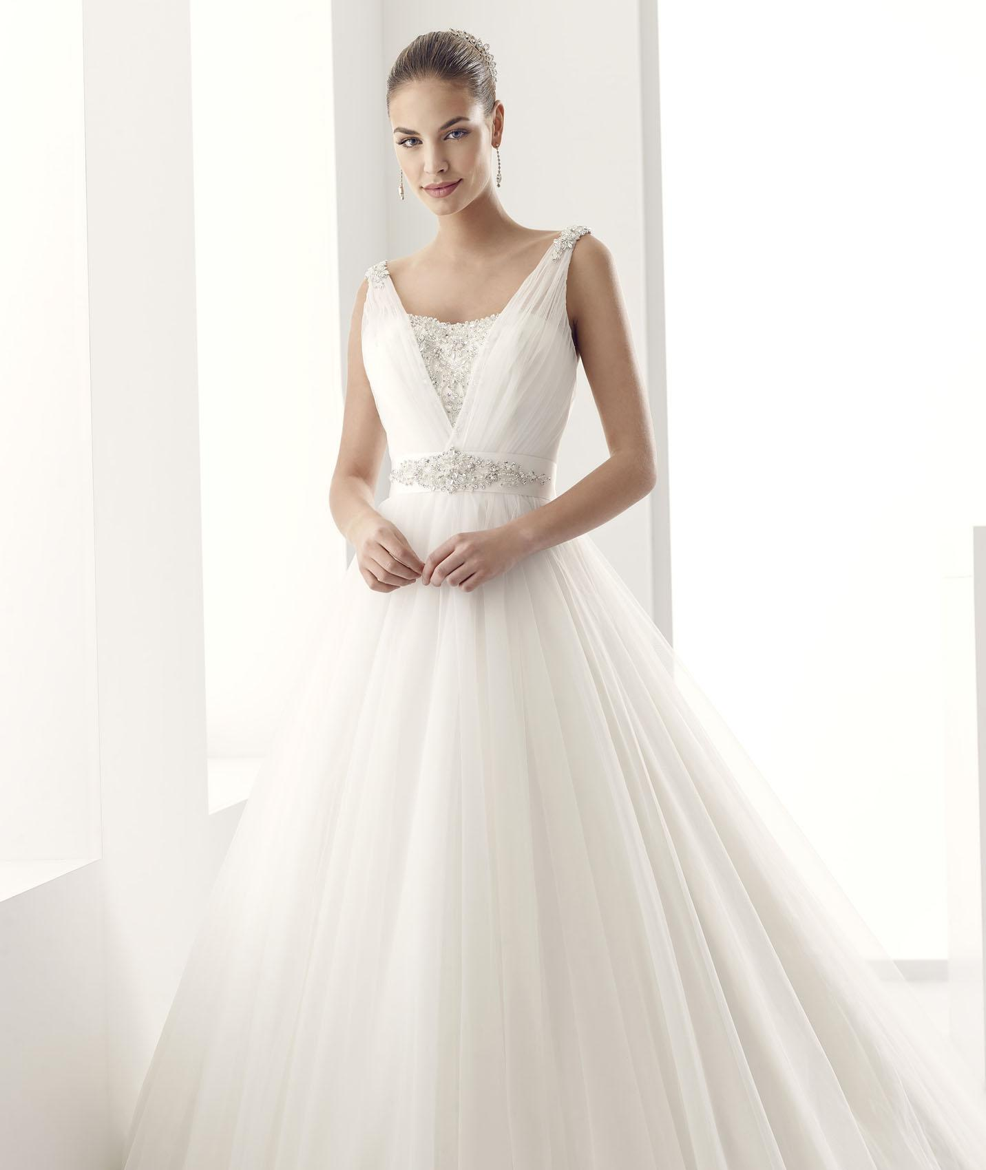 3a474e01553 Simple A-line Straps Beading&Crystal Sweep/Brush Train Tulle Wedding Dresses
