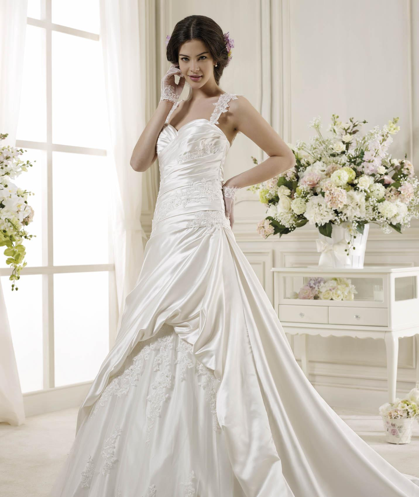 Simple A-line Straps Beading&Sequins Lace Sweep/Brush Train Satin Wedding Dresses