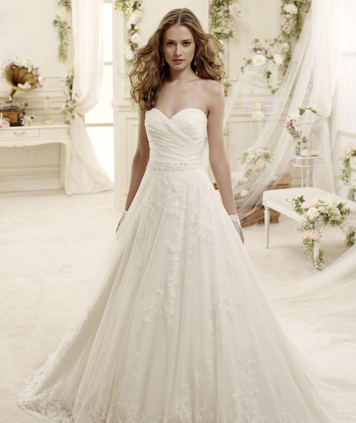 Elegant A-line Sweetheart Beading Lace Sweep/Brush Train Tulle Wedding Dresses