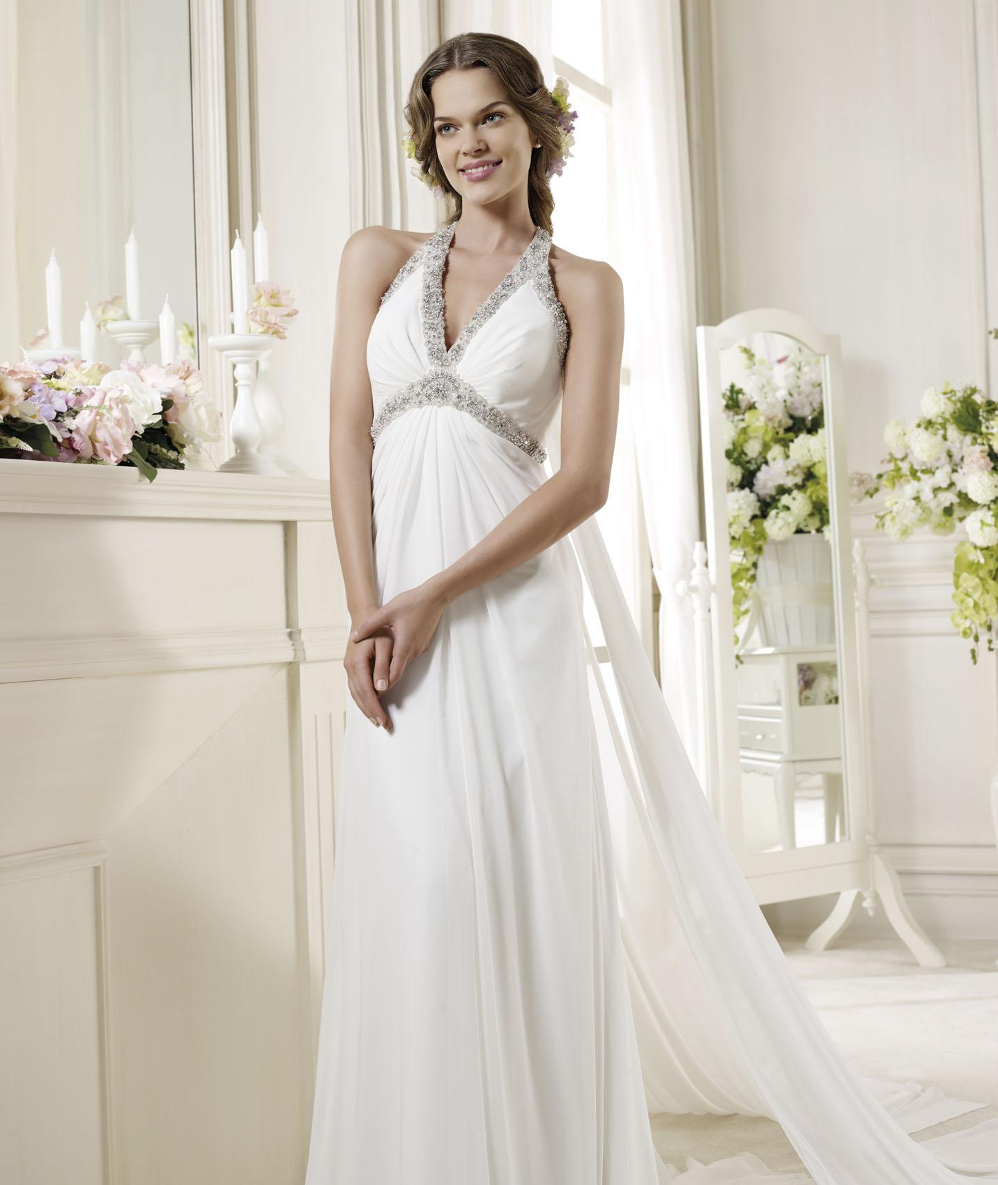Charming Sheath/Column Halter Beading&Crystal Sweep/Brush Train Chiffon Wedding Dresses